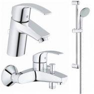 Купить Grohe Eurosmart 123238/1  Смесители для умывальника, ванны, стойка (33265002+33300002+27598000)