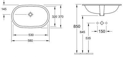 Купить Умывальник под столешницу 53 см Villeroy Boch O.Novo (41625001)