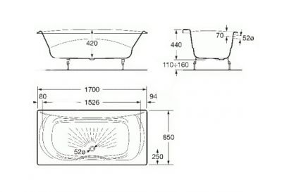 Купить Ванна чугунная с ручками Roca Akira 170x85 (A23257000R)