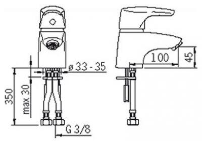 Купить Oras Saga 1910F Смеситель для умывальника без донного клапана