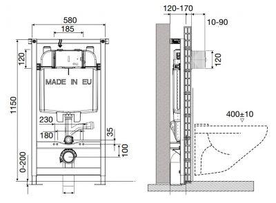 Купить Инсталляция для подвесного унитаза, комплект 4 в 1 OLI 74 Slim, хром (CB11100075780)