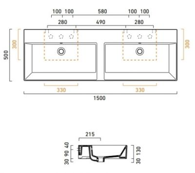 Купить Раковина двойная 150x50 см Catalano Premium (115VP00)