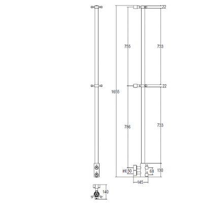Купить Margaroli Arcobaleno (416/L/CR) Полотенцесушитель водяной хром 165 см
