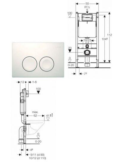 Купить Инсталляция для подвесного унитаза, комплект 3 в 1 Geberit UP182 (458.115.11.1)