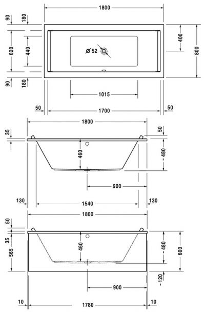 Купить Ванна акриловая Starck 1800х800 (700338)