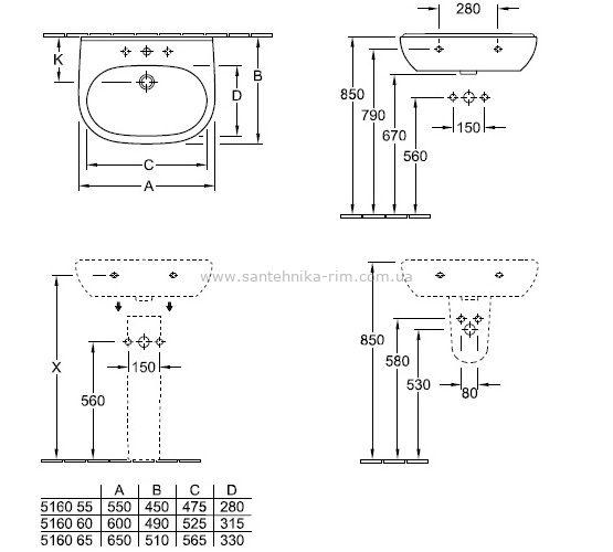Купить Умывальник O.Novo, 550х510 мм (51605501)