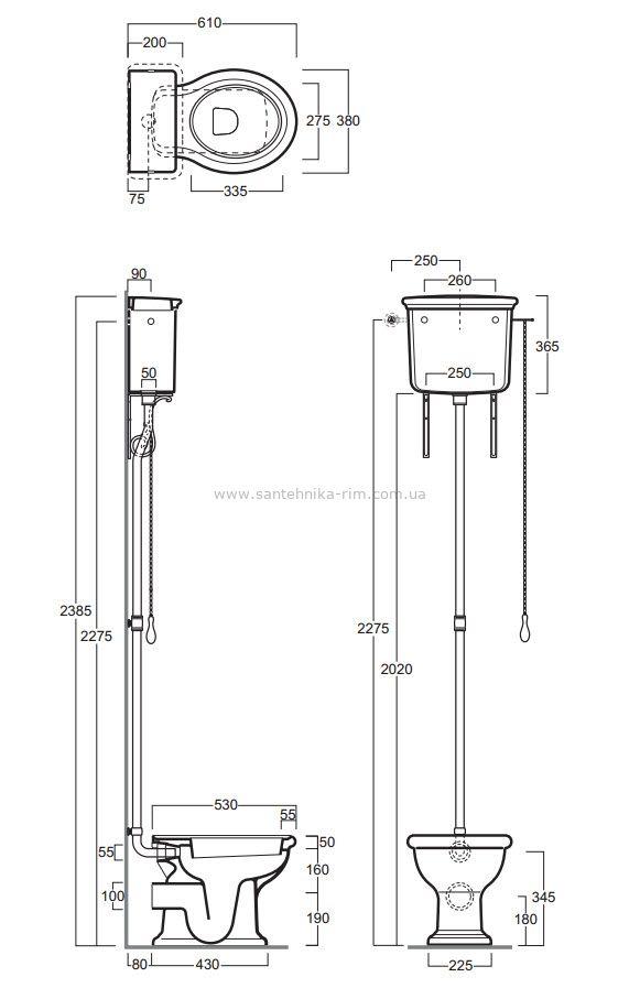 Купить Унитаз с высоким бачком и механизмом бронза Simas Lante (LA02-LA06-R01BR)