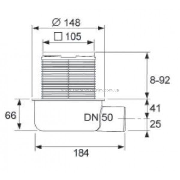 Купить Трап низкий горизонтальный Tecedrainpoint S 50 (3601050)