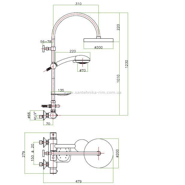Купить Fiore X-Termo (31CR0988) Смеситель-термостат с душевой стойкой хром