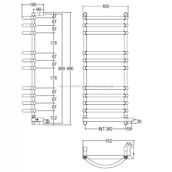 Купить Margaroli Luna (534/10/B/CR) Полотенцесушитель электрический хром 45.2x99.6 см