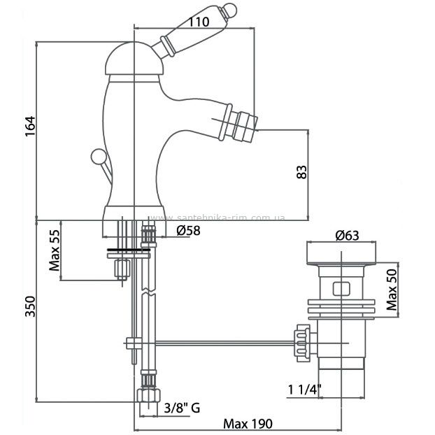 Купить Fiore Imperial (83ZZ5321) Смеситель для биде бронза/керамика