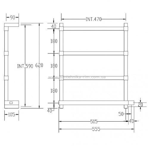 Купить Margaroli Panorama (842/B/CR) Полотенцесушитель электрический хром 55.2x62 см