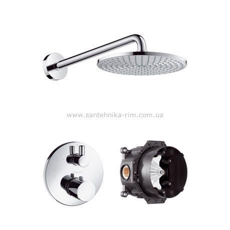 Купить Верхний душ Hansgrohe Raindance AIR с держателем, термостат Ecostat S, скрытая часть iBox universal (27122000)