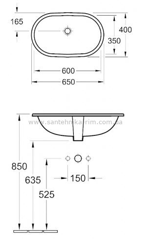 Купить Умывальник под столешницу 60 см Villeroy Boch O.Novo (41626001)