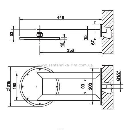 Купить Верхний душ хром 21 см Gessi Transparenze (34349.031)