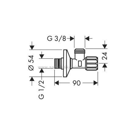 Купить Вентиль угловой с микрофильтром хром Hansgrohe (13904000)
