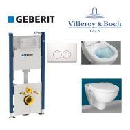 Купить Инсталляция Geberit Duofix 458.120.11.1 комплект (4 в 1) с унитазом Villeroy & Boch O.Novo 5660HR01 Directflush (без ободка) с сиденьем Soft Close в santehnika-rim.com.ua