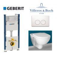 Купить Инсталляция Geberit Duofix 458.120.11.1 комплект (4 в 1) с унитазом Villeroy & Boch O.Novo 49 см 5688H101 с сиденьем Soft Close в santehnika-rim.com.ua