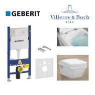Купить Инсталляция Geberit Duofix 458.126.00.1 комплект (3 в 1) с унитазом Villeroy & Boch Omnia Architectura 5685HR01 Directflush (без ободка) с сиденьем Soft Close в santehnika-rim.com.ua