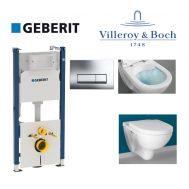 Купить Инсталляция Geberit Duofix 458.178.21.1 комплект (4 в 1) с унитазом Villeroy & Boch O.Novo 5660HR01 Directflush (без ободка) с сиденьем Soft Close в santehnika-rim.com.ua