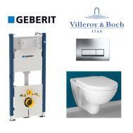Купить Инсталляция Geberit Duofix 458.178.21.1 комплект (4 в 1) с унитазом Villeroy & Boch O.Novo 49 см 5688H101 с сиденьем Soft Close в santehnika-rim.com.ua
