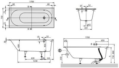 Купить Ванна кварилова 170х75 см Villeroy Boch Oberon (UBQ170OBE2V-01)
