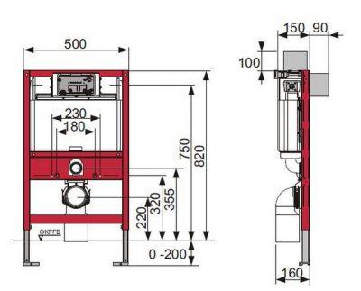 Купить Инсталляция для подвесного унитаза, высота 82см Tece (9.300.001) в santehnika-rim.com.ua