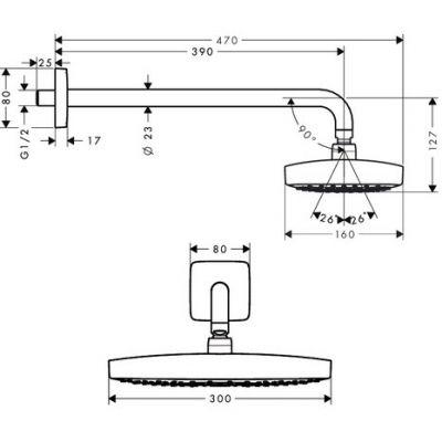 Купить Верхний душ хром Hansgrohe Raindance Select E 300 (27385000) в santehnika-rim.com.ua