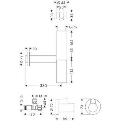 Купить Сифон Flowstar с краниками подключения хром Hansgrohe (52120000) в santehnika-rim.com.ua