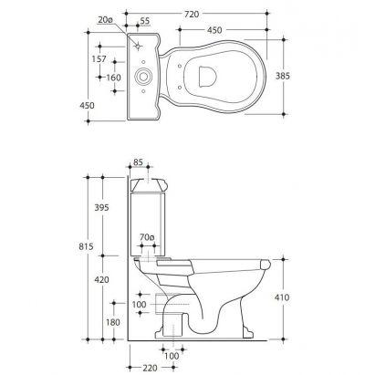 Купить Унитаз с бачком и механизмом хром Kerasan Retro (1013-1081-7509CR) в santehnika-rim.com.ua