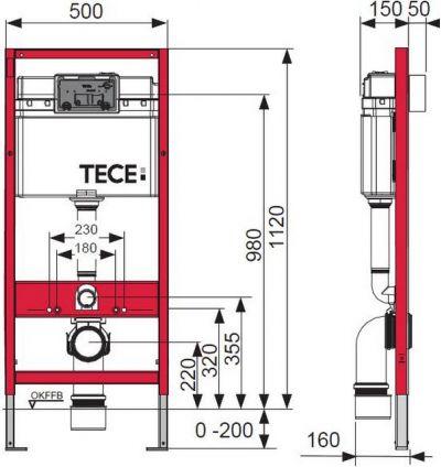 Купить Инсталляция для подвесного унитаза, комплект 4 в 1 Tecebase (9.400.006) в santehnika-rim.com.ua