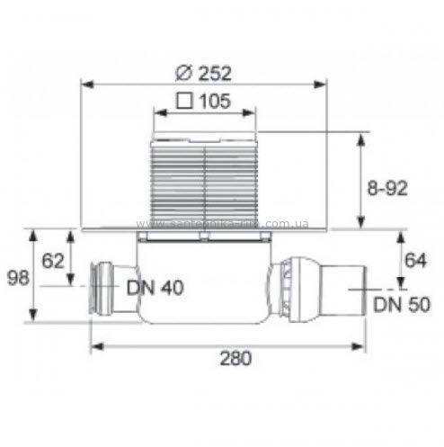 Купить Трап стандартный горизонтальный Tecedrainpoint S 120 (3601200)