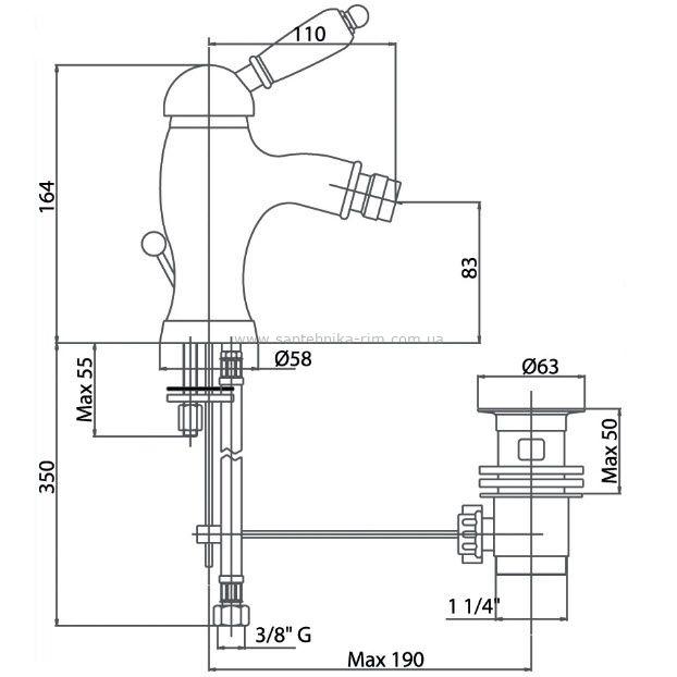 Купить Fiore Imperial (83ZZ5321) Смеситель для биде бронза/керамика в santehnika-rim.com.ua