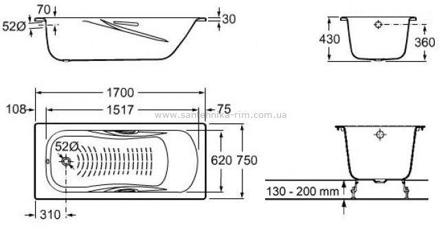 Купить Ванна стальная с ручками Roca Princess 170x75 (A220270001) в santehnika-rim.com.ua