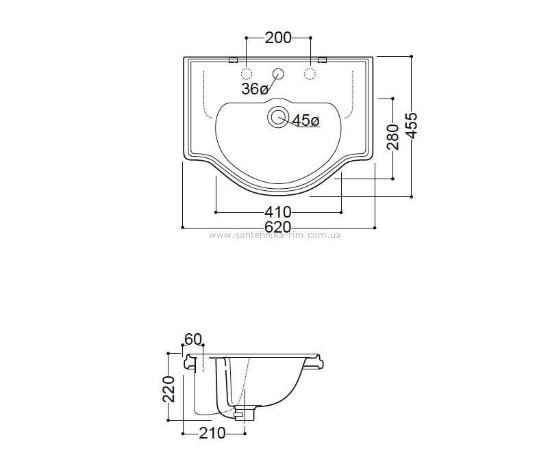 Купить Раковина 62 см для встройки на столешницу Kerasan Retro (1030) в santehnika-rim.com.ua