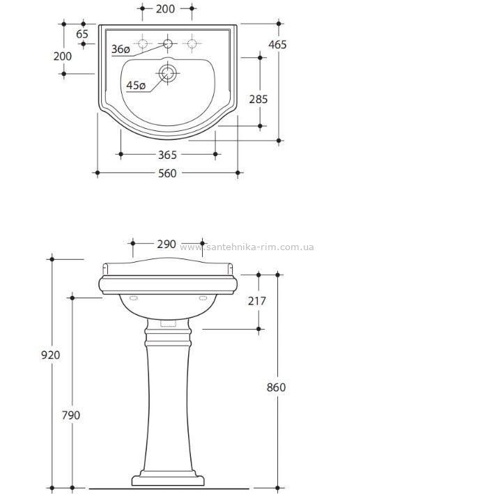 Купить Раковина 55 см Kerasan Retro (1045) в santehnika-rim.com.ua